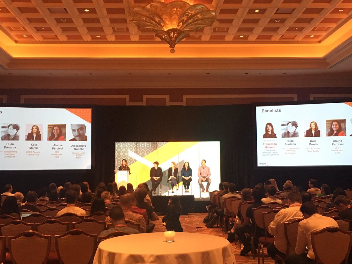 AmandaF_Batista: Diversity in tech panel #Magentoimagine - hiring, retention, promotion key focus areas says @WomenWhoCode's @alaina https://t.co/Xkd5h7GKv6