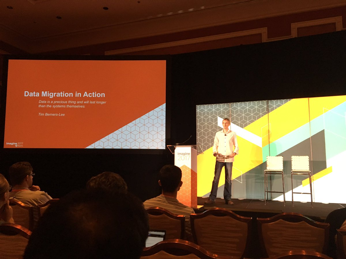 ospadano: The great @jcowie (@Inviqa alumni) is on stage at #MagentoImagine talking about #magento2 data migration https://t.co/aok3bCK4qK
