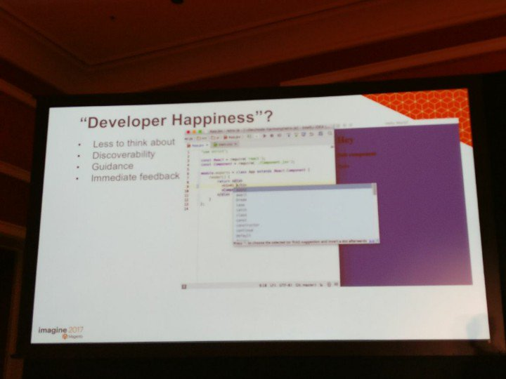 cmuench: I see React code in a Magento presentation. A new technology stack ;-) #MagentoImagine https://t.co/F5Tg8xNY2R