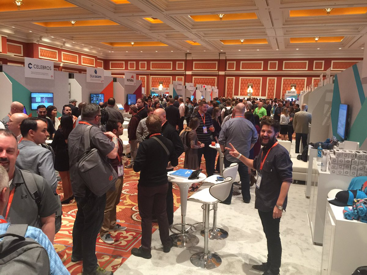 mbalparda: Well this is crowded now! Swing by to talk about our new cloud and get some cool swag! #magentoimagine https://t.co/2x2P2JT1al