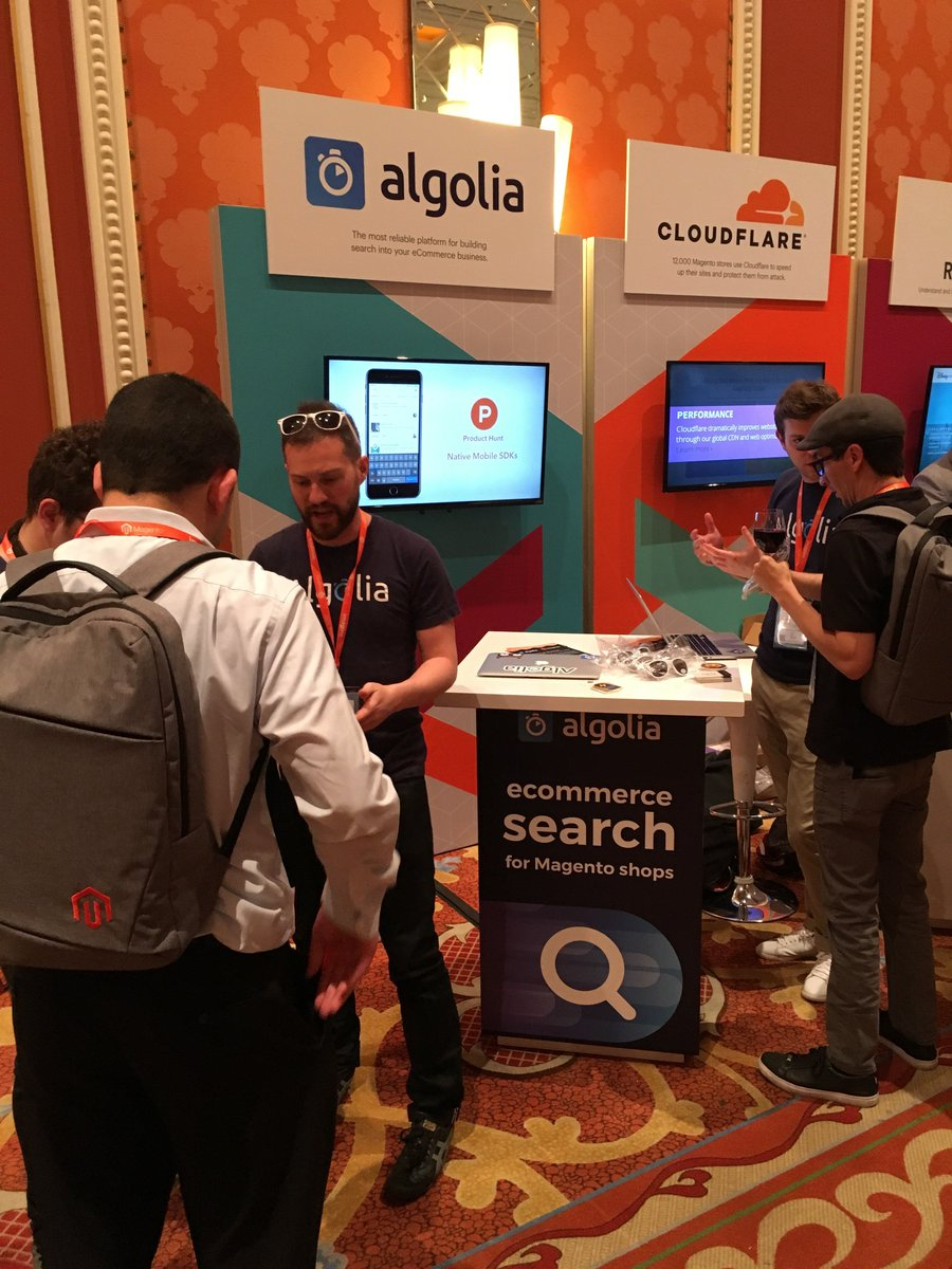 algolia: At #MagentoImagine? Meet us at booth #15, to the left of the main entrance & snag some swag! :shopping_bags: https://t.co/Tk4cHjabGk
