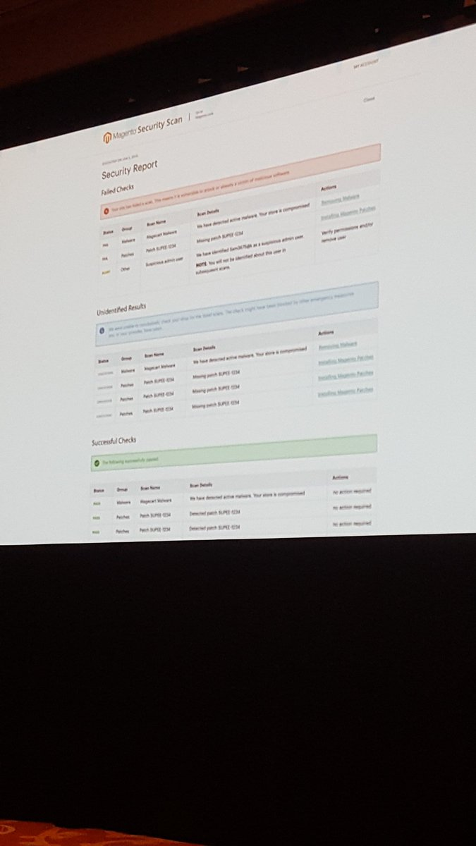 mgeoffray: Very clear report for Magento Security Scan! #Magentoimagine #Magento #security https://t.co/bv1z0TCOsC