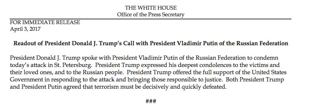 Readout of President Donald J. Trump's Call with President Vladimir Putin of the Russian Federation https://t.co/cseSXdOaK3