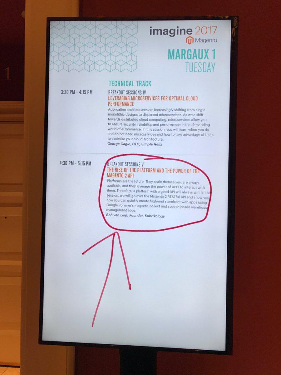 bobvanluijt: Are you at #Magentoimagine? https://t.co/YfXawfI35k