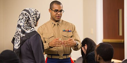 Capt Jordan Harris Teaches Leadership Traits During A Marine Corps