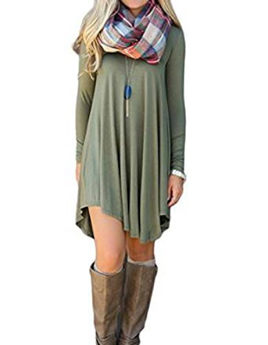 #fashion #free #style #win #giveaway Women's Irregular Hem Long Sleeve Casual T Shirt Flowy Shift Dress Army Green M #rt