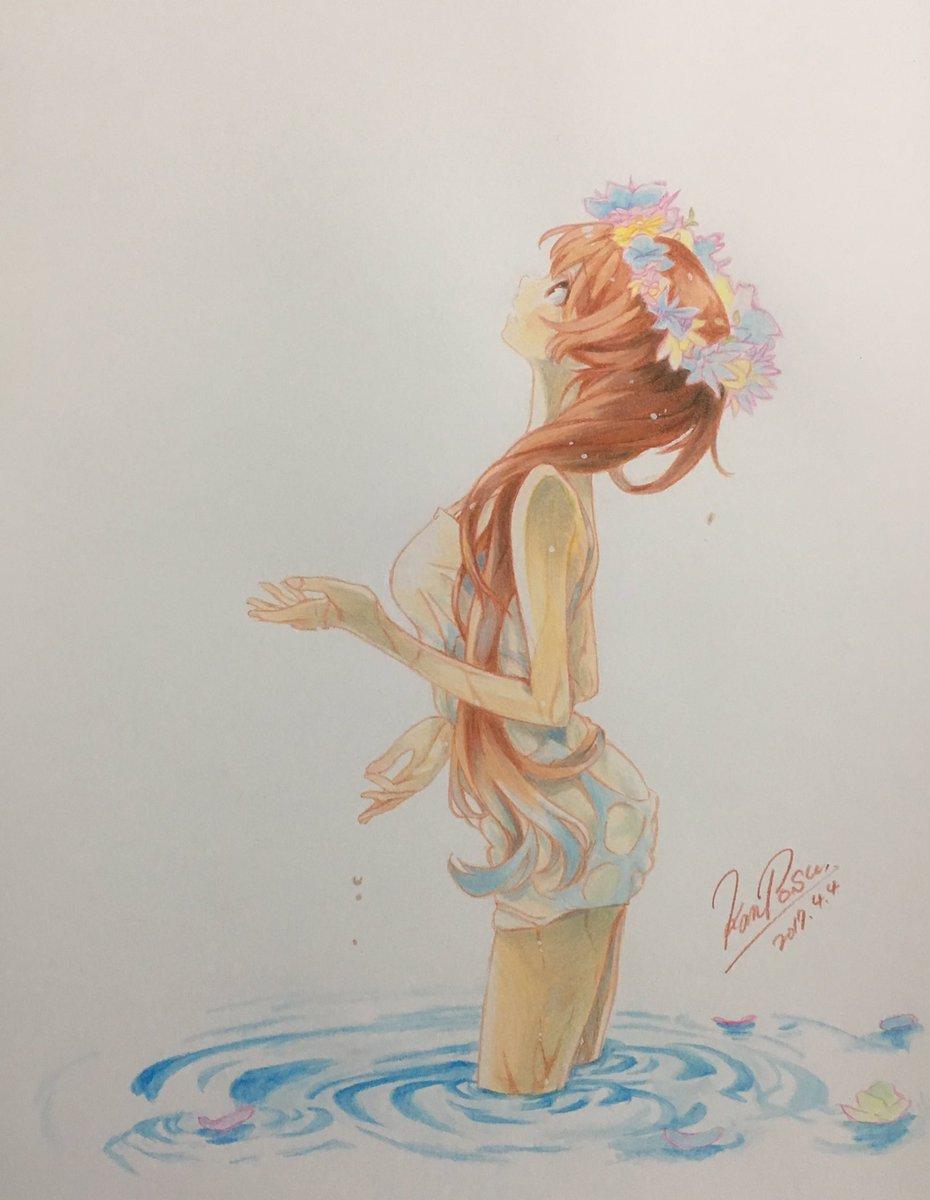 ――愛に濡れ、恋に咲く万の里の花―――――――ニセコイより橘万里花描きました!#色鉛筆