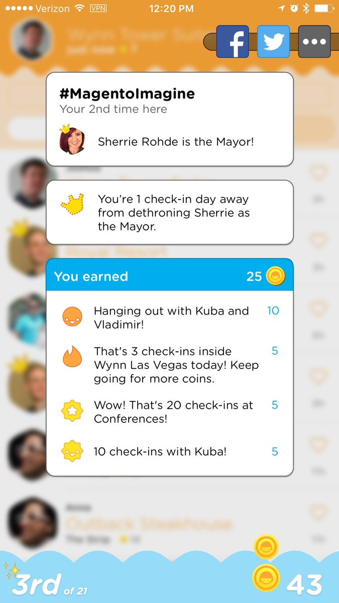"JoshuaSWarren: ""1 away from dethroning Sherrie as the Mayor of #MagentoImagine."" Somehow I don't think that's ever going to happen! https://t.co/BHzBbFYJi6"