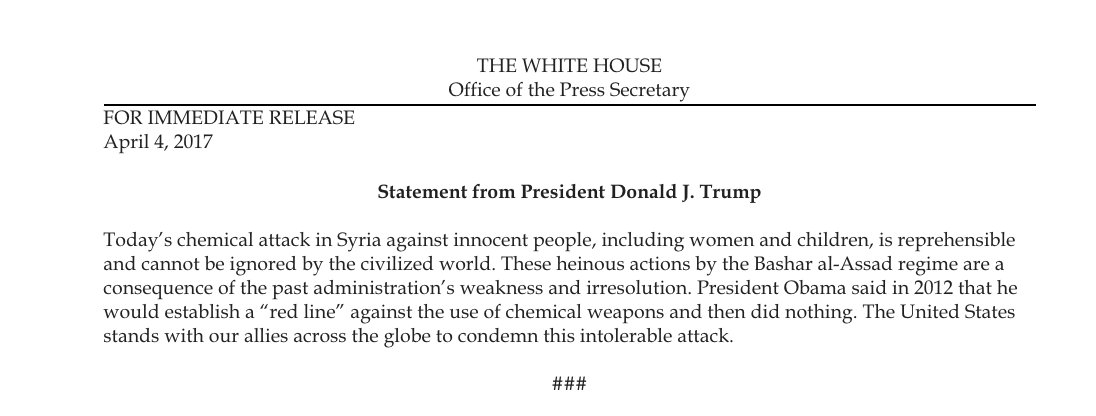 So that statement that @PressSec read earlier is now being attributed to @POTUS https://t.co/TxgEyCEbwA
