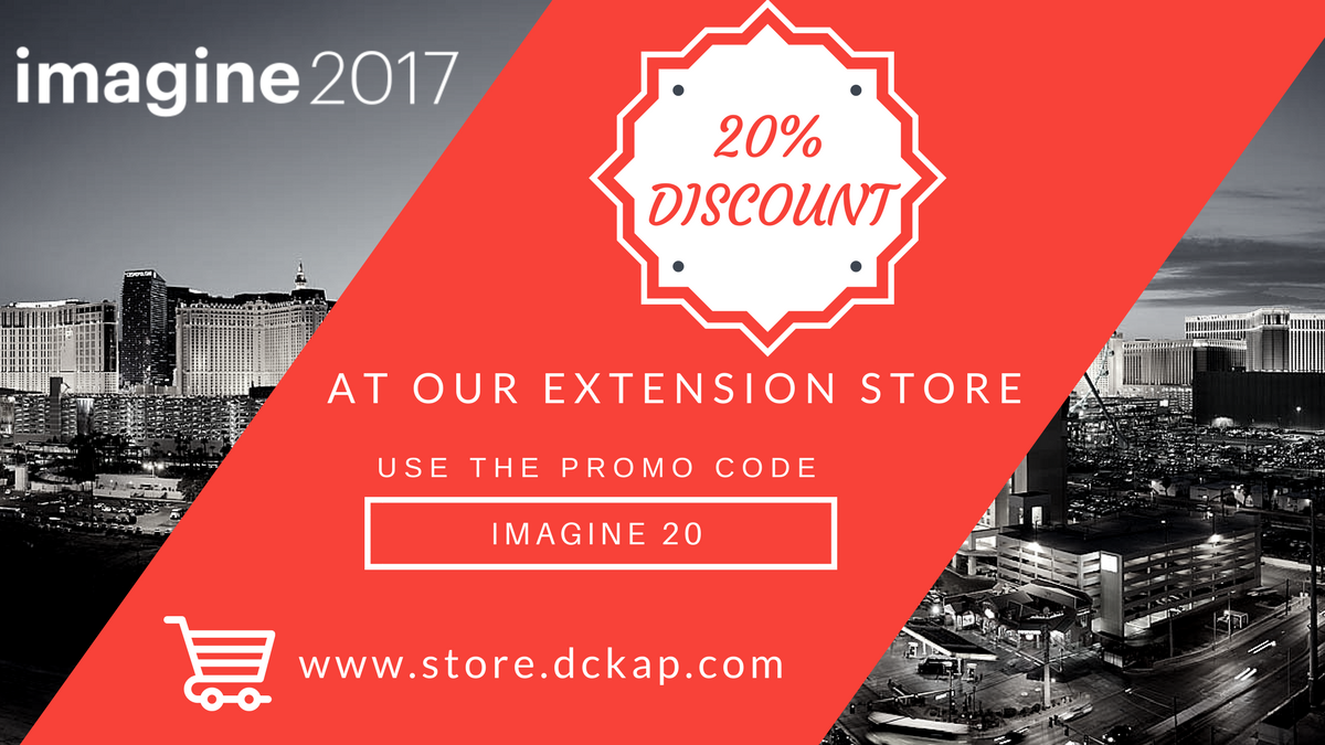 DCKAP: Get 20% off on all our Magento extensions. Use promo code 'IMAGINE20' #MagentoImagine https://t.co/1Qtg3Rqi79