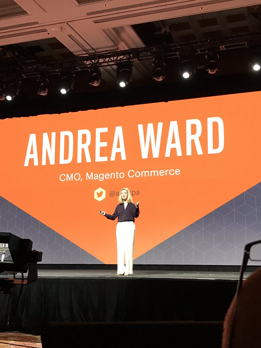 Creatuity: Excited to hear from @magento's new Chief Marketing Officer at her first #Magentoimagine! Welcome @awatpa https://t.co/H6aM7uwdph
