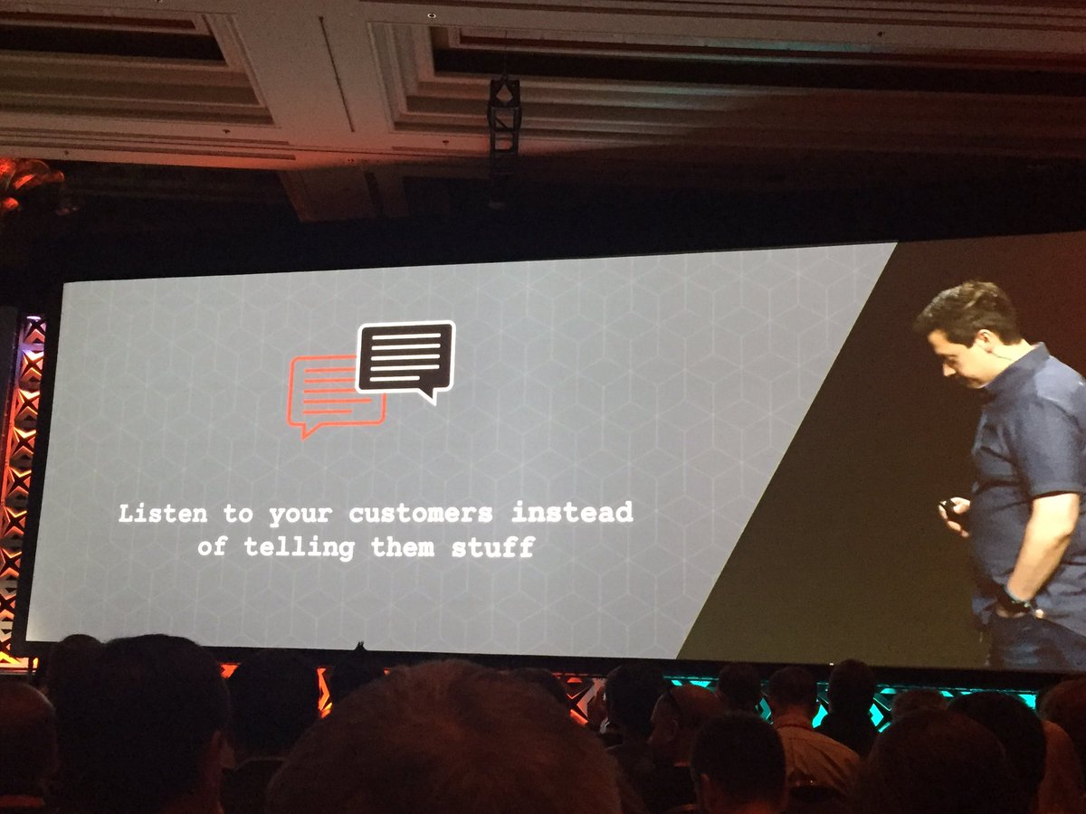 wearejh: Listen to your customers instead of telling them stuff.. great advise from @braintree #Magentoimagine https://t.co/9HjynJ9W5F