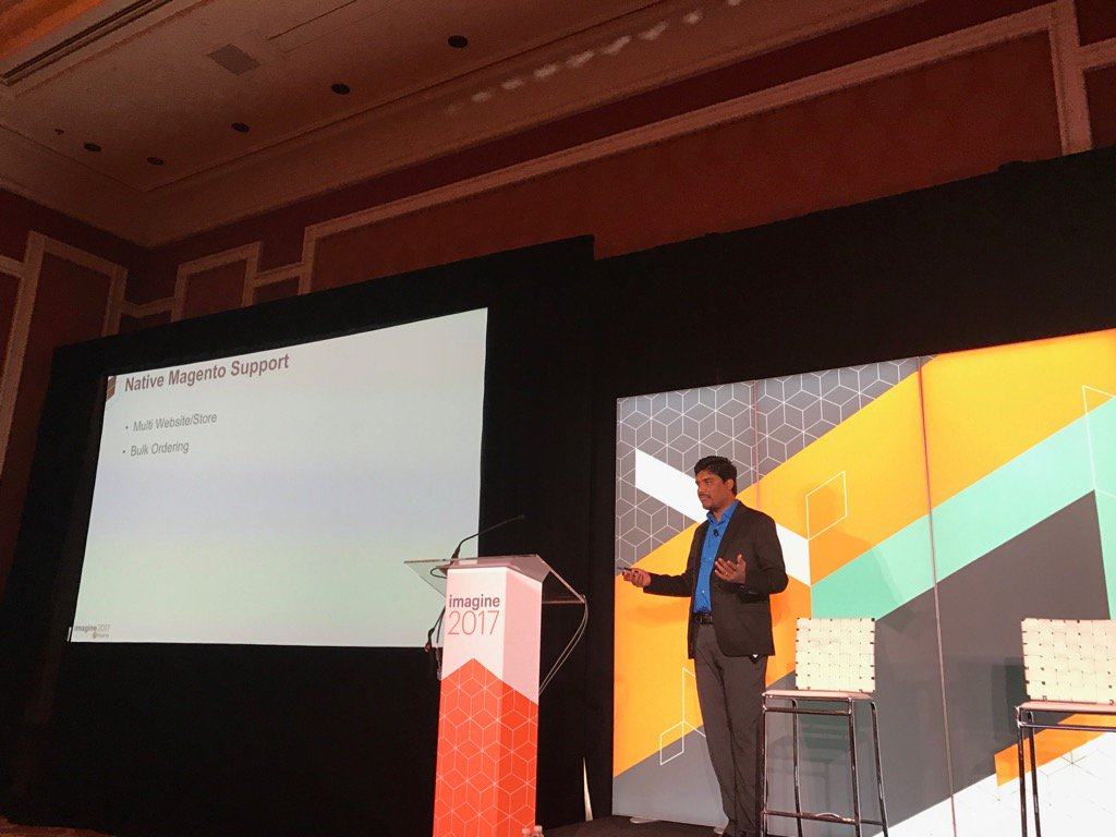 DCKAP: Native Magento Support for b2b @nmohanswe presenting in Lafleur 1  #Magentoimagine come join us. Session in progress https://t.co/lOxCu5H4Oz