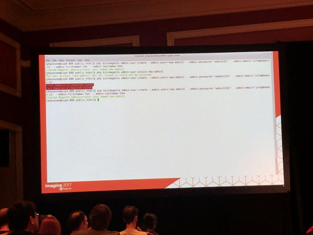 sashas777: Need to create new admin user? - easy  with CLI 👍 #Magentoimagine #magentoimagine2017 https://t.co/sKQTNL0JBu