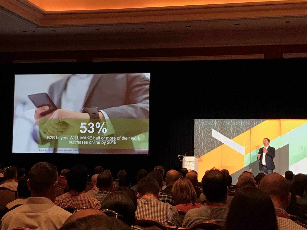 wearejh: '53% of B2B buyers WILL make half or more of their work purchases online by 2018' @andyhoar1 #MagentoImagine https://t.co/QxCcakoR44