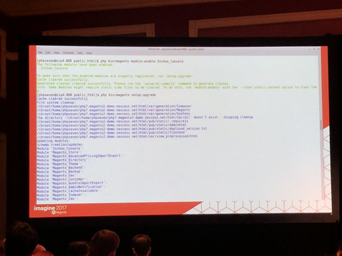 sashas777: Dont forget to run 'php bin/magento setup:upgrade' after enabling new module.  #Magentoimagine  #magentoimagine2017 https://t.co/b2wDfuGMrA
