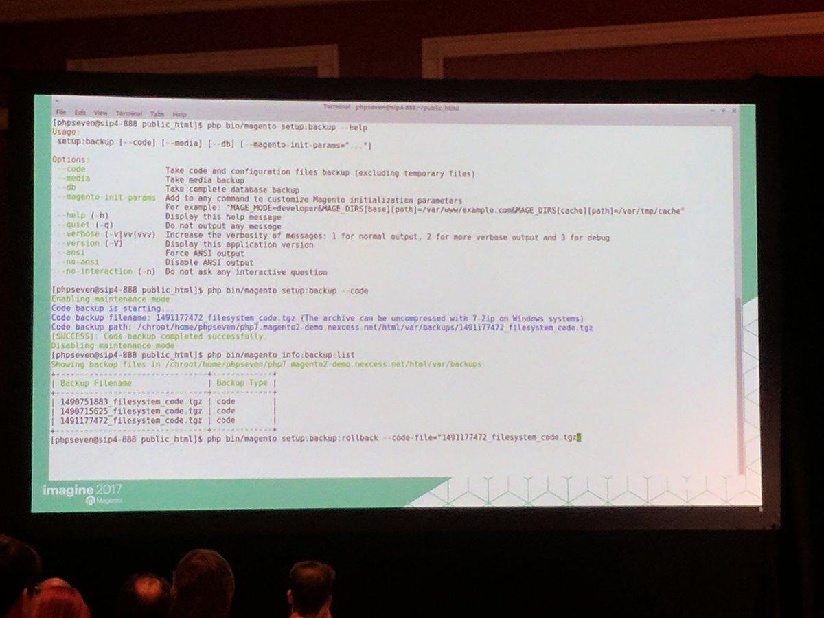 sashas777: Magento backups & roll back using CLI.  #Magentoimagine #magentoimagine2017 https://t.co/ITOtueKcsv