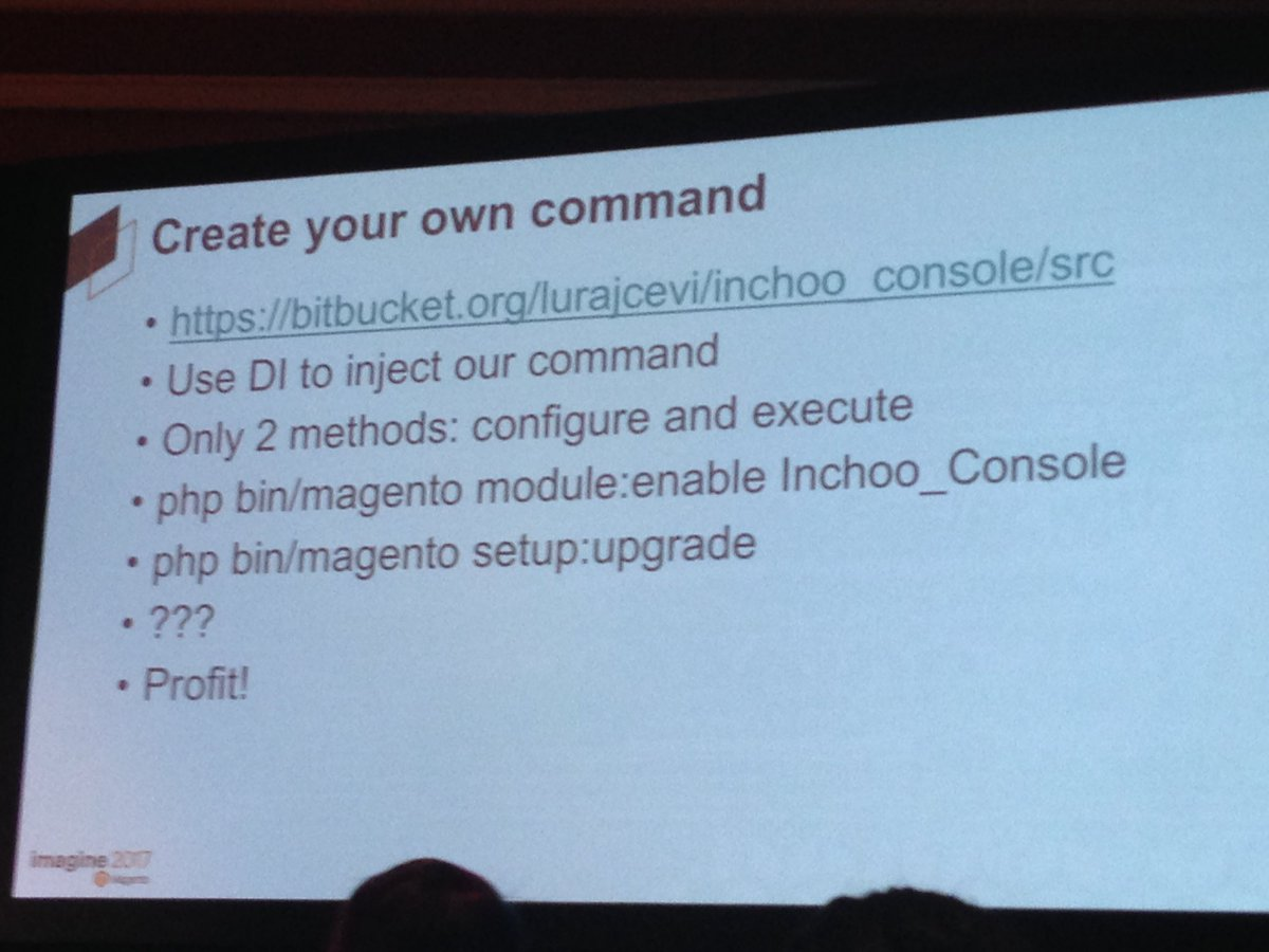 SheroDesigns: @mbalparda has a lot of respect for @inchoo & their console command in #magento2 #Magentoimagine https://t.co/j9XqwpcJUr