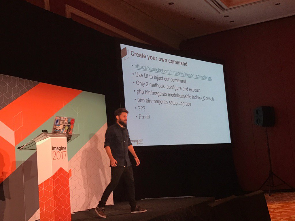 Blue_Bovine: #Magentoimagine @inchoo gets shout out from @mbalparda - highlighting how they crated their own cli command in m2 https://t.co/VrtZZo1GJP