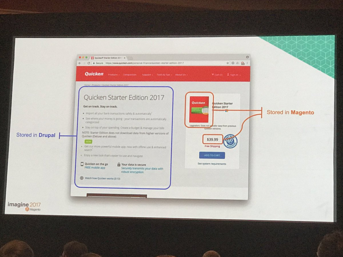 iminyaylo: 'Don't do math in Drupal. Use Magento for that' Drupal + Magento headless integration at #MagentoImagine https://t.co/KQPGRyQ2Ul