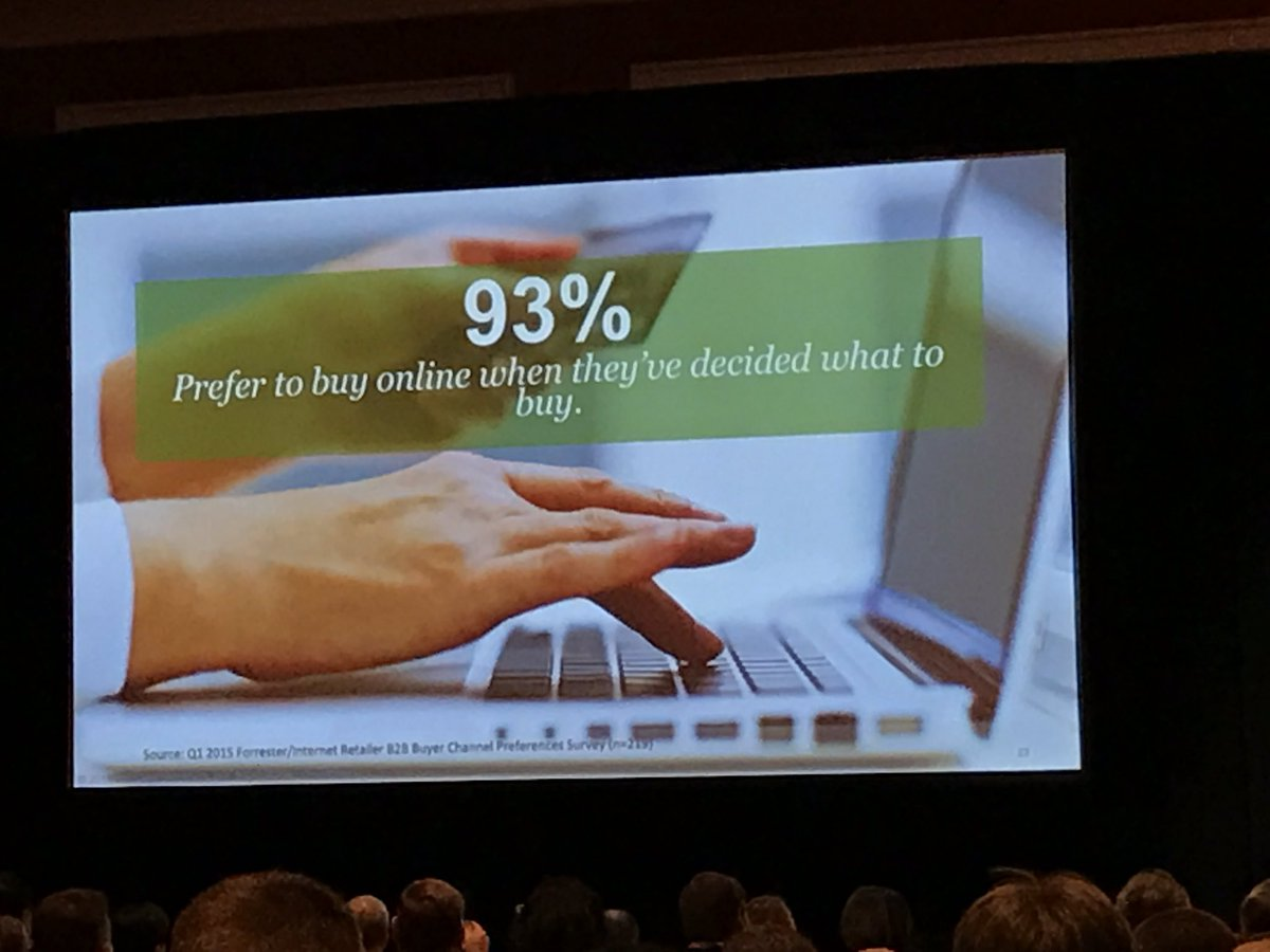 wearejh: '93% (of B2B customers) prefer to buy online when they've decide what they want to buy' @andyhoar1 #MagentoImagine https://t.co/xe9RtmjOu4