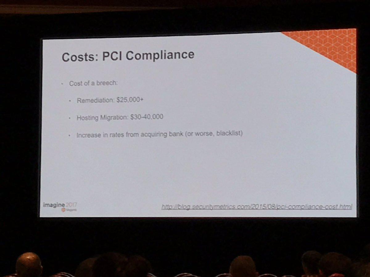 wearejh: PCI Compliance: The costs of a breach @philwinkle #MagentoImagine https://t.co/2SslNN4mnG