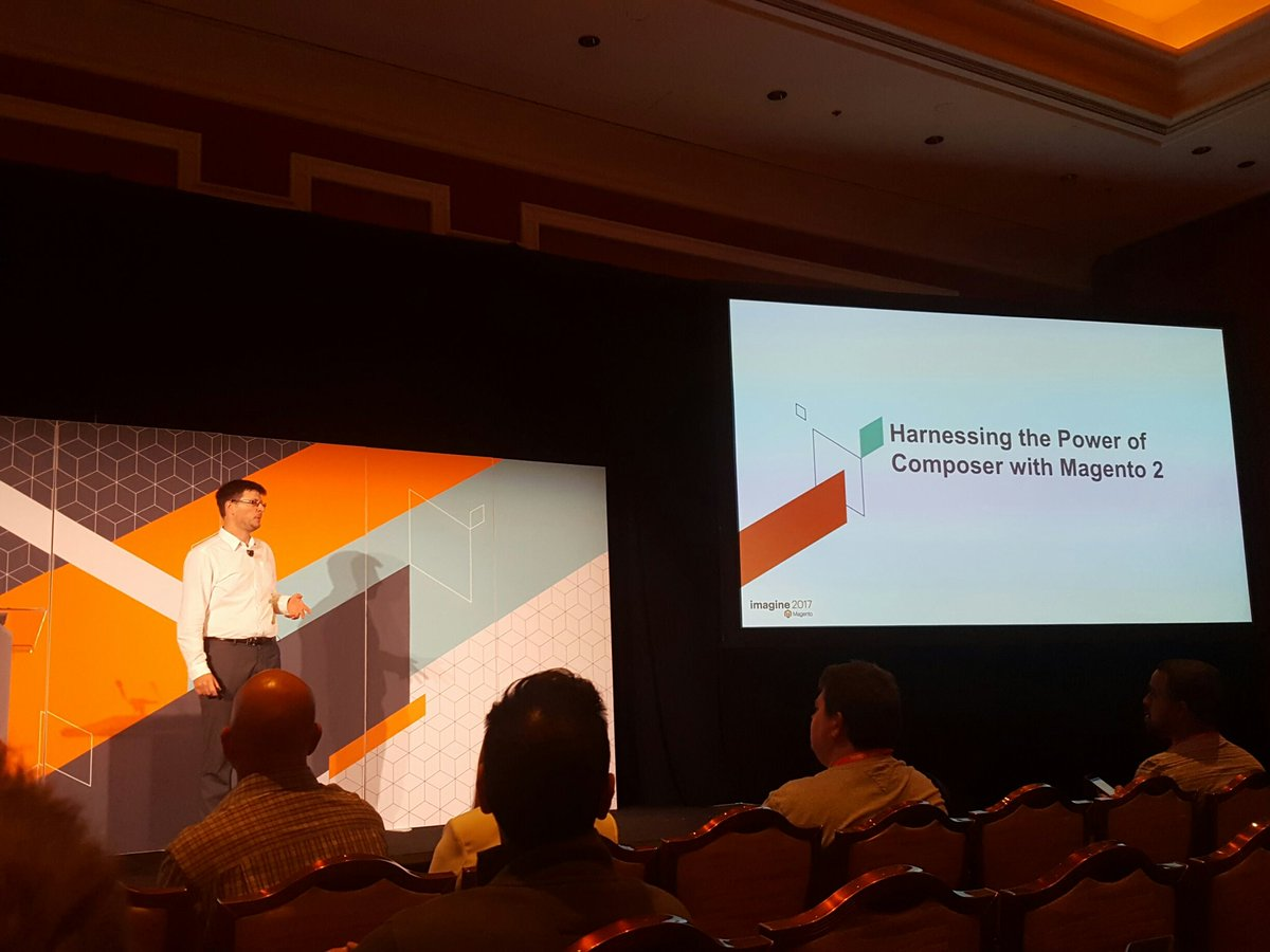 mgeoffray: Now on stage @foomanNZ to explain the power of Composer! #Magentoimagine #realmagento #Magento https://t.co/wpxYkW0mP7
