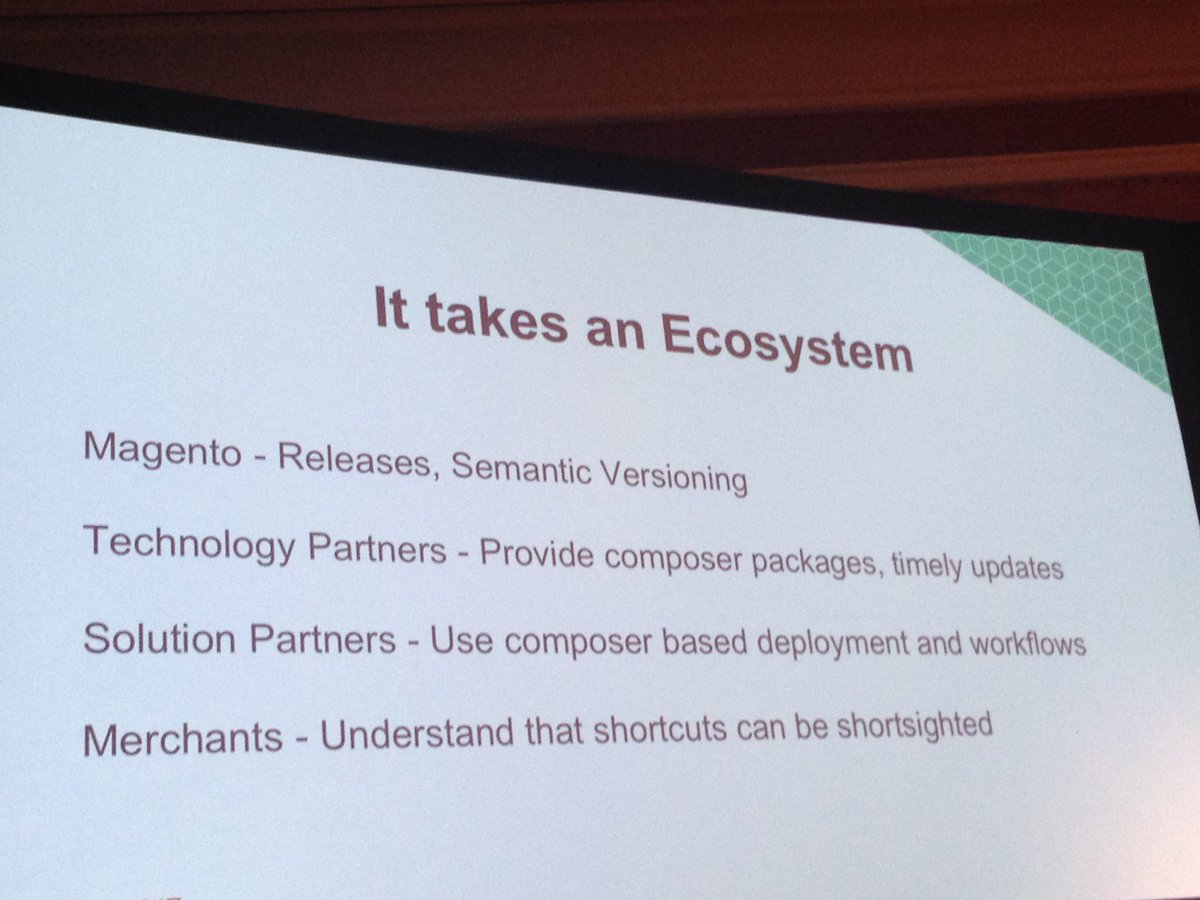 SheroDesigns: Work towards faster upgrades = it takes an ecosystem. Tips for #magento2 @foomanNZ #Magentoimagine https://t.co/SXEqyhr2Ga