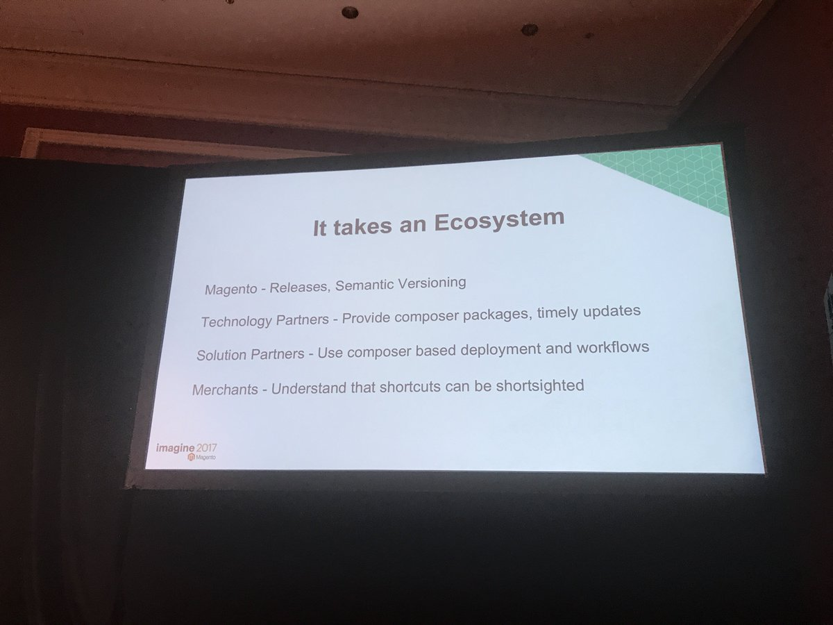 JohnHughes1984: To get package versioning and responsible composer usage will take the whole @magento ecosystem #MagentoImagine https://t.co/gcmknHTiI8