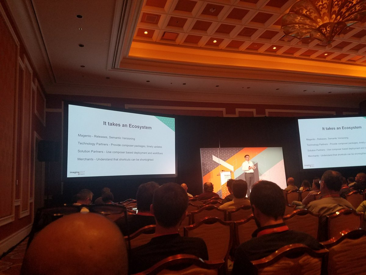 ddavidn: It takes an ecosystem, says @foomanNZ on the subject of using composer to manage M2 dependencies #MagentoImagine https://t.co/edXvfU0Q77