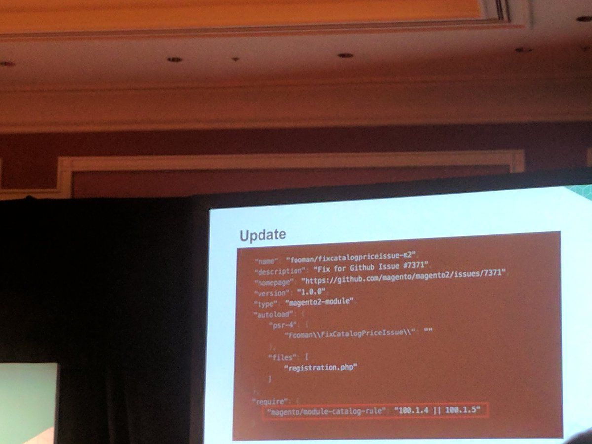 sashas777: When you implement fix from GitHub for Magento - set a reminder using composer #Magentoimagine #magentoimagine2017 https://t.co/mmvm39XRmp
