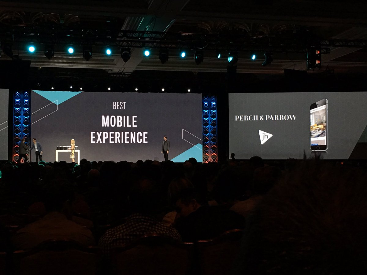ebizmarts: Best Mobile Experience Excellence award goes to Perch & Parrow powered by @wearejh, well done guys! #Magentoimagine https://t.co/M7eMZBhG5s