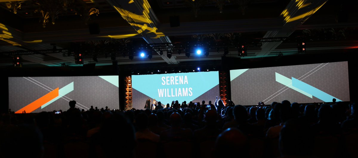 classyllama: Welcoming @serenawilliams to the stage at #Magentoimagine Stay tuned for updates! https://t.co/tm4yFEFyAe