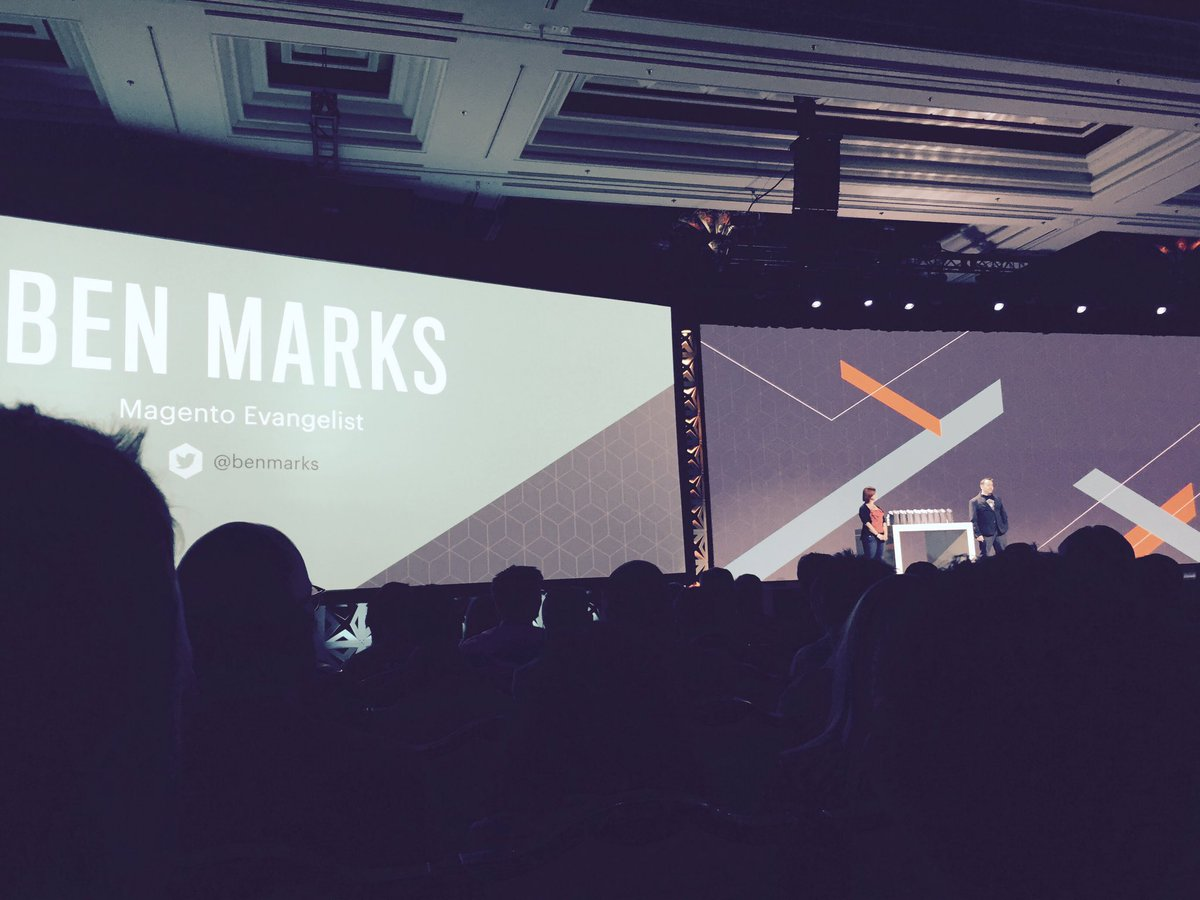 WebShopApps: Bad pic, but @sherrierohde and @benmarks nailed it on stage #Magentoimagine https://t.co/7dXf7YlyW8