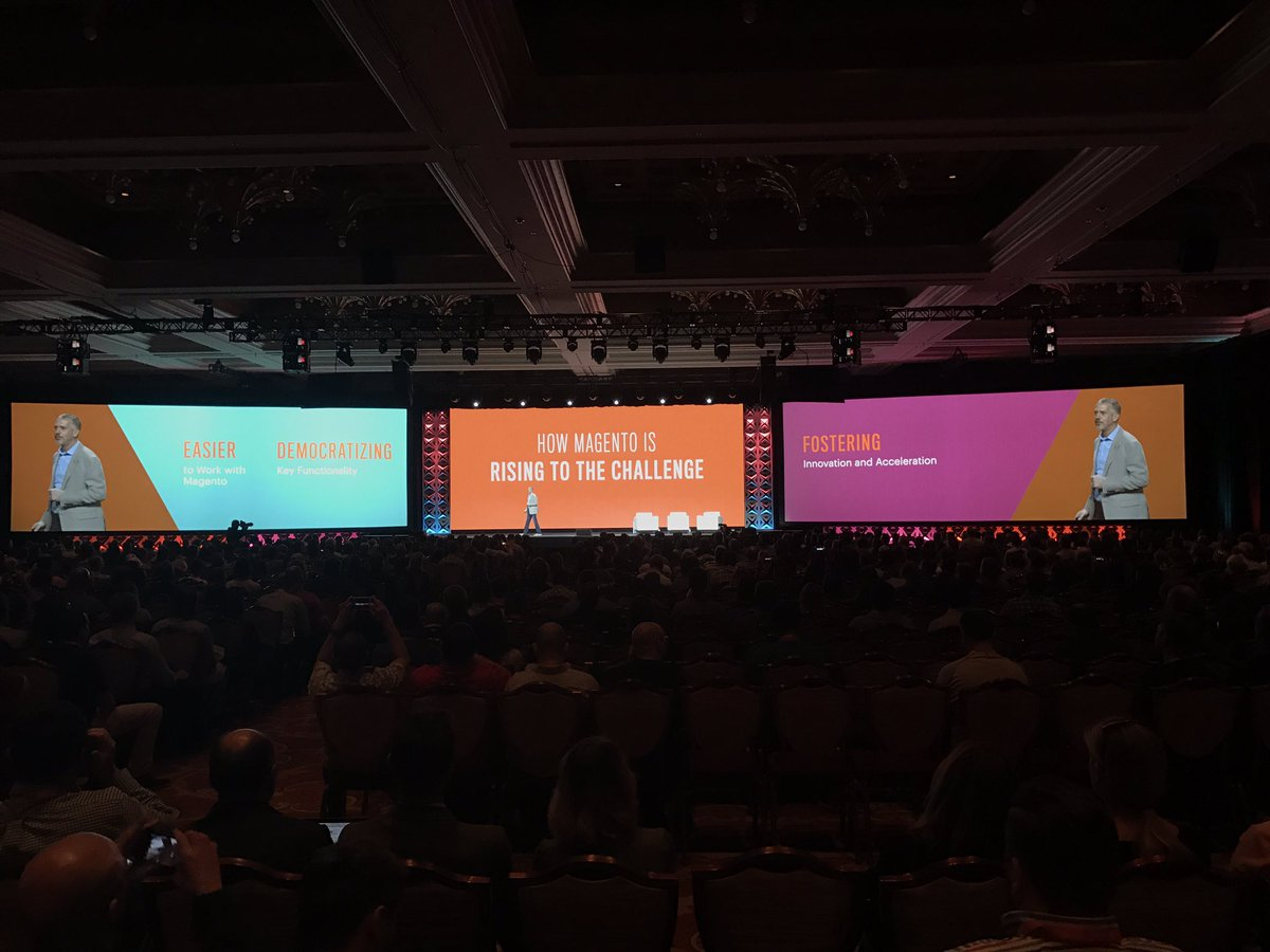 wearejh: How Magento is rising to the challenge: Easier, Democratisation, Fostering @jasonwoosley_mg #MagentoImagine https://t.co/zH1fT0CaiS