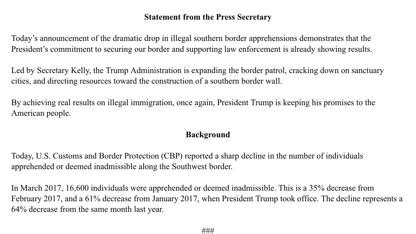 Statement from the Press Secretary on the Decline in Southwest Border Apprehensions https://t.co/rL4YDfpLoz