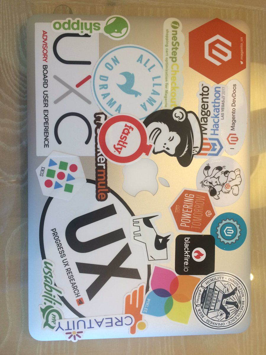 UXdanielle: Had about 7-8 stickers before #MagentoImagine. Now I have eleventy-three. Thanks for beautifying my Mac, sponsors! https://t.co/fr5aNYvnsb