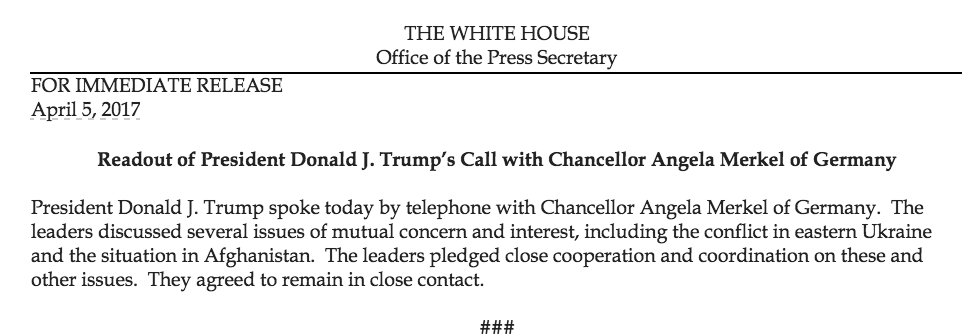 Readout of President Donald J. Trump's Call with Chancellor Angela Merkel of Germany https://t.co/QfDKdf1jhy