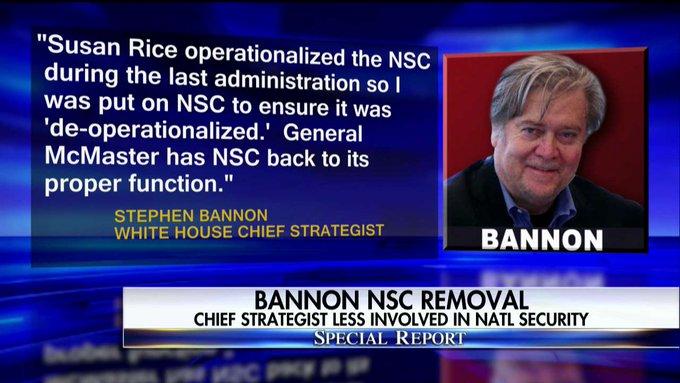 Stephen Bannon statement on the NSC. #SpecialReport