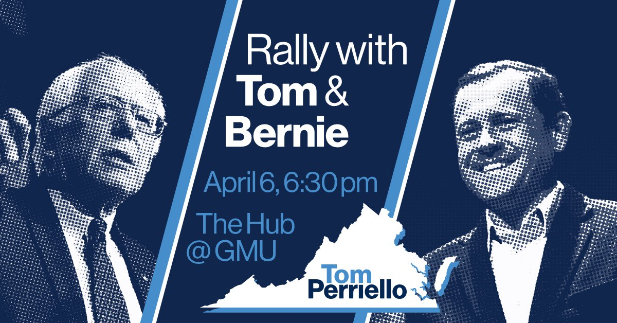Join me & @berniesanders tonight as we rally around our progressive campaign for Virginia! https://t.co/t8XBFFTixd https://t.co/sKmpGwe7la