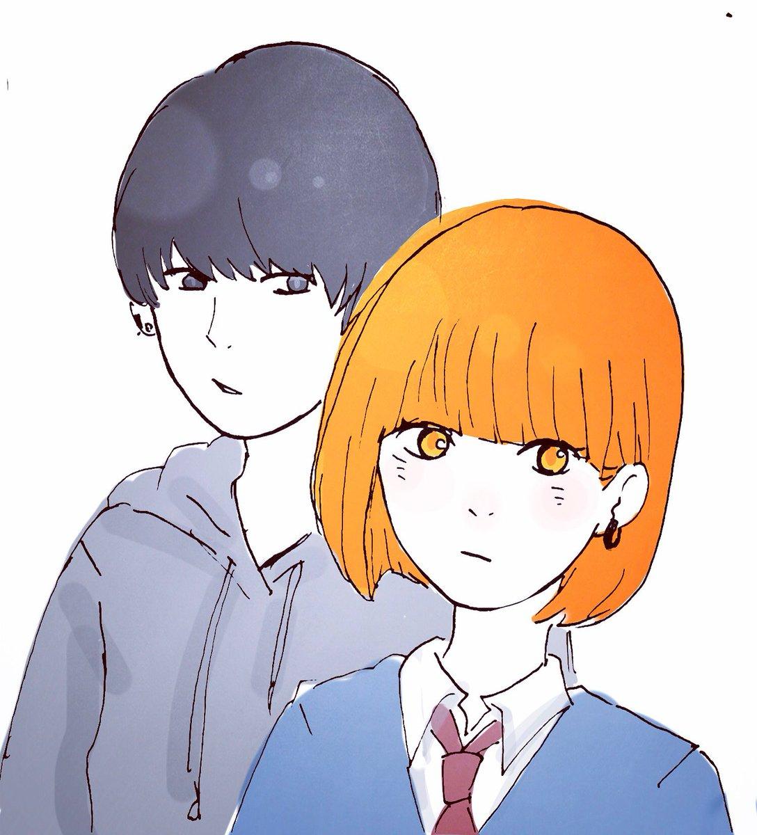 ささみさん( )の創作杏ちゃんと柊くんを描かせてもらいました。