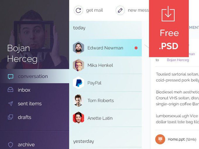Mail Client   Ui kit by bobchilo freebie via GenioDronof