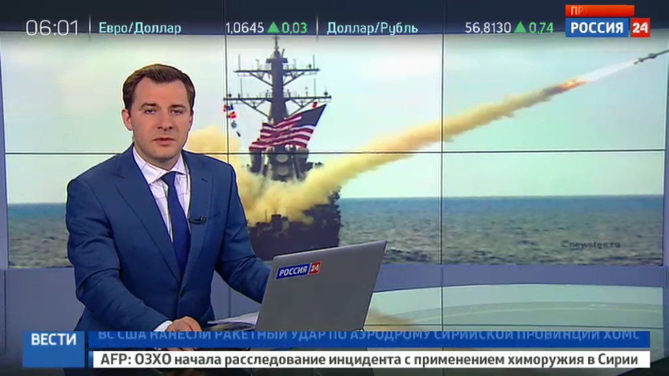 Russian state TV reports 'there are killed & wounded' at Syrian air base hit by US missiles. https://t.co/jzYf7uQvgh