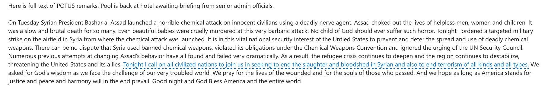 Via pool: Here is full text of @POTUS remarks. https://t.co/jwUNHEelk1