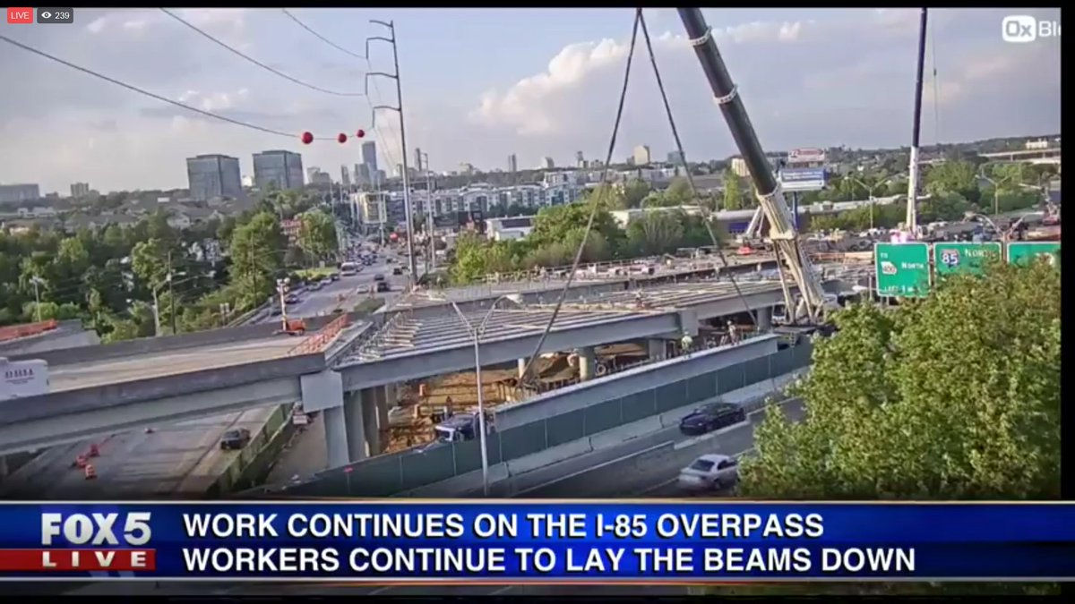 LIVE: Another beam is about to set into place on the I-85 overpass. WATCH: https://t.co/D1TruEAAwG