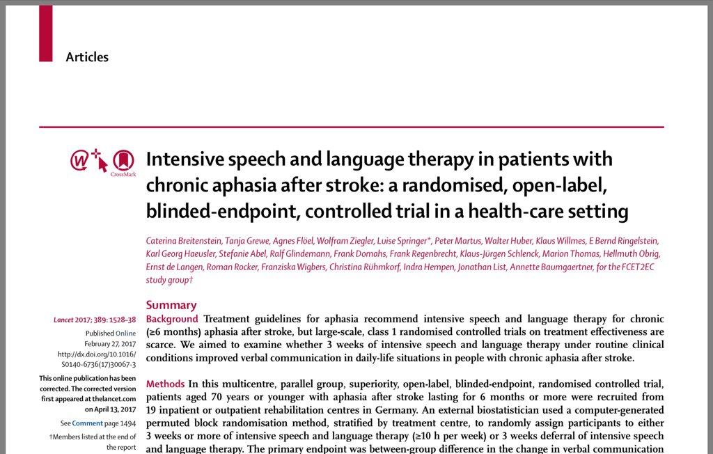L'orthophonie intensive améliore le langage dans l'AVC avec aphasie (10h par semaine!). #Lancet https://t.co/O8QfUmDkbG