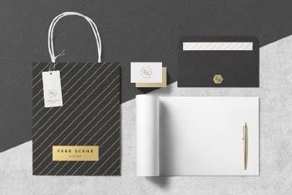 Free PSD Stationery Scene Mockup Freebies FreeResources FreeDownload