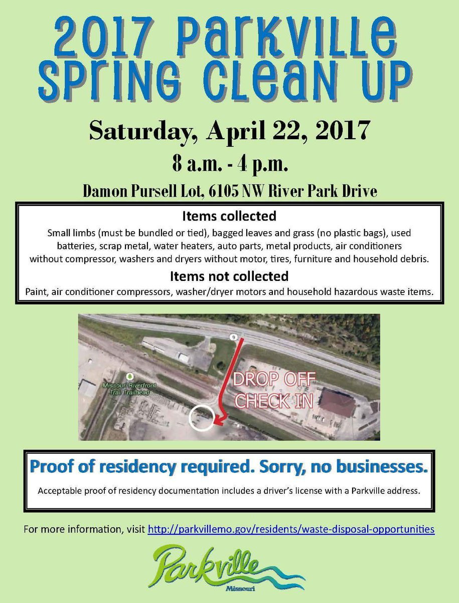 test Twitter Media - REMINDER: Parkville Spring Clean Up Saturday (4/22) 8am-4pm, 6105 NW River Park Drive. Parkville residents only; proof of residency required https://t.co/IfAHzFb0er