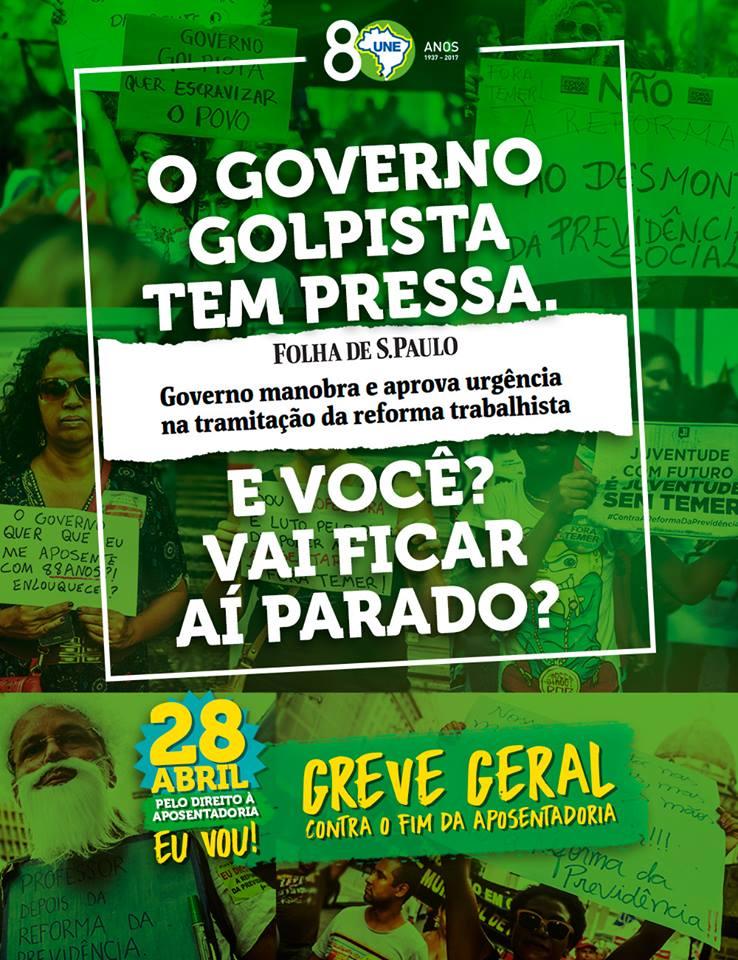 Temer e sua corja estão com mais pressa a cada dia. A hora do povo se unir é agora! 👐 #ForaTemer #28A #28éRua   #GreveGeral