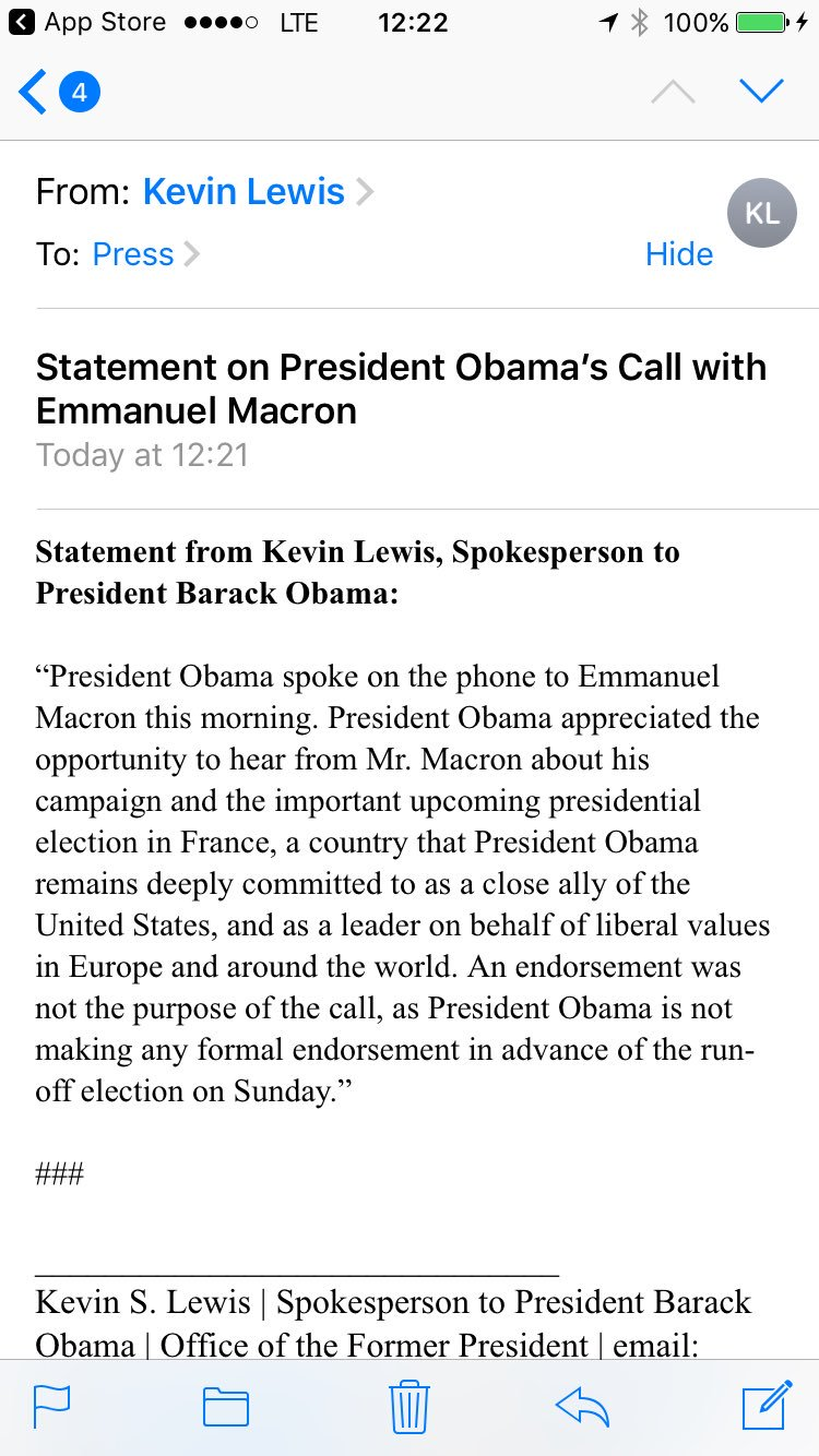 Inbox: Statement on President Obama's Call with Emmanuel Macron https://t.co/ZfOWRmvnw0